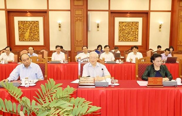 Le Bureau Politique travaille avec la Permanence du Comite du Parti de Hanoi hinh anh 1