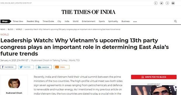 Un journal indien souligne l'importance du 13e Congres du Parti du Vietnam hinh anh 1