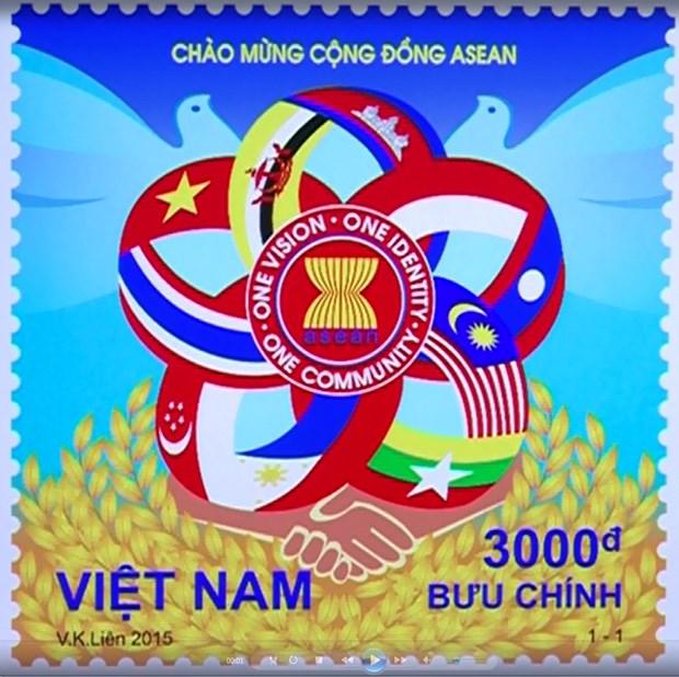 Un timbre saluant la creation de la Communaute de l'ASEAN hinh anh 1