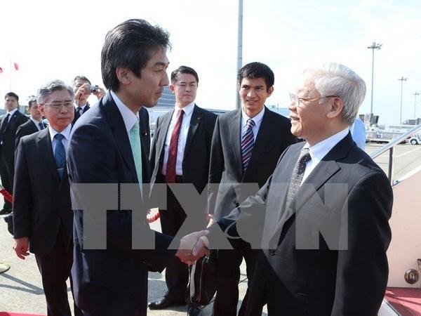 Le secretaire general du PCV Nguyen Phu Trong arrive a Tokyo hinh anh 1