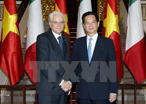 Les dirigeants vietnamiens recoivent le president italien hinh anh 2