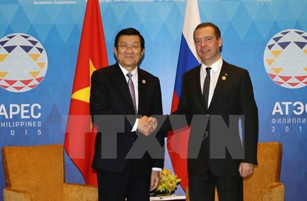 Le president du Vietnam rencontre le PM russe a Manille hinh anh 1