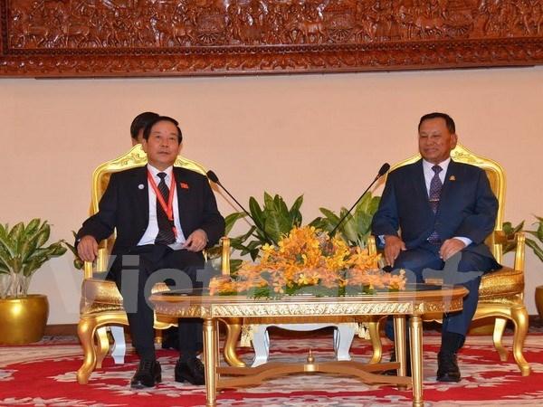 Le president du Senat cambodgien recoit une delegation de l'AN du Vietnam hinh anh 1