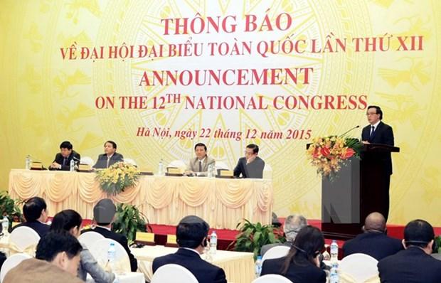 Le 12e Congres national du PCV aura lieu du 20 au 28 janvier 2016 hinh anh 1