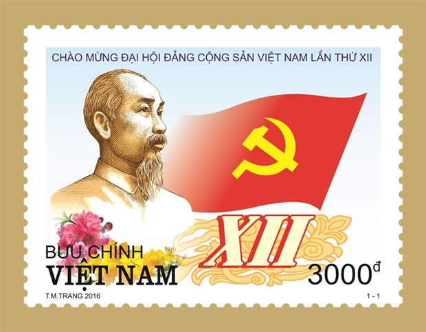 Emission d'une collection de timbres en l'honneur du 12e Congres national du PCV hinh anh 2
