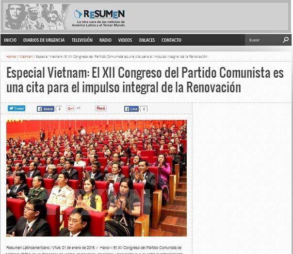 La presse argentine parle du 12e Congres national du Parti hinh anh 1