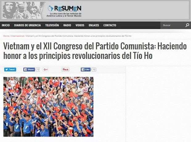 Le journal argentin Resumen Latinoamericano salue le Parti communiste du Vietnam hinh anh 1