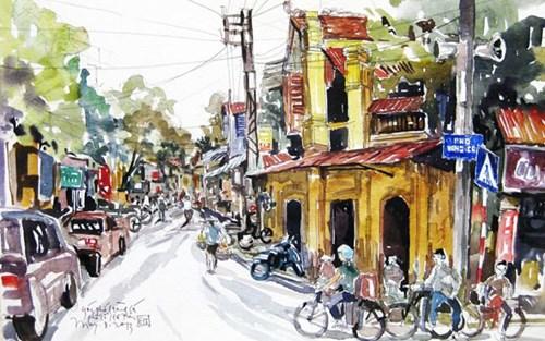 Les rues de Hanoi en peinture hinh anh 2