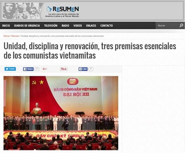 La presse argentine apprecie les resultats du 12e Congres national du PCV hinh anh 1