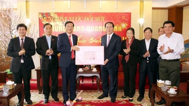 Le general Tran Dai Quang presente ses vœux du Tet a Quang Ninh hinh anh 1
