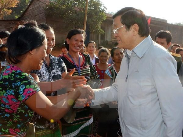 Le president Truong Tan Sang visite la province de Dak Nong hinh anh 1