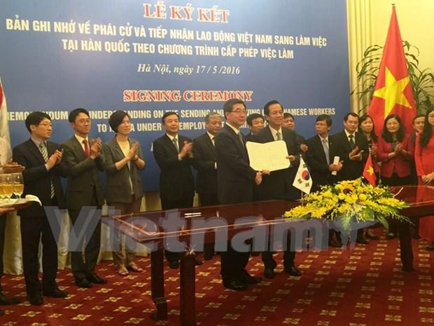 Signature du MoU normal sur la reprise de la reception des travailleurs vietnamiens en R. de Coree hinh anh 1