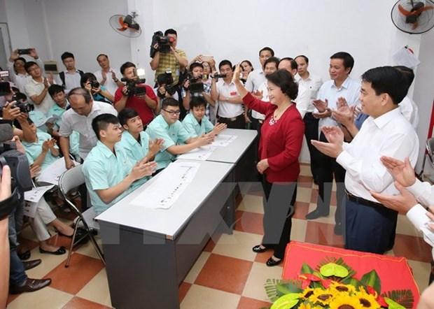 La presidente de l'Assemblee nationale inspecte le travail electoral hinh anh 1