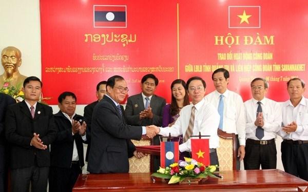 Quang Tri et Savannakhet (Laos) renforcent les liens syndicaux hinh anh 1