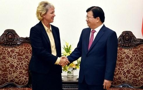 Le vice-Premier ministre Trinh Dinh Dung recoit une representante du groupe Siemens hinh anh 1