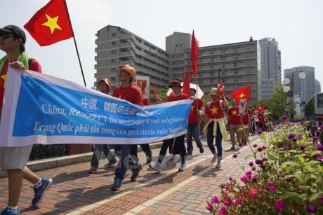 Le diasposa vietnamien au Japon appelle la Chine a respecter le droit international hinh anh 1