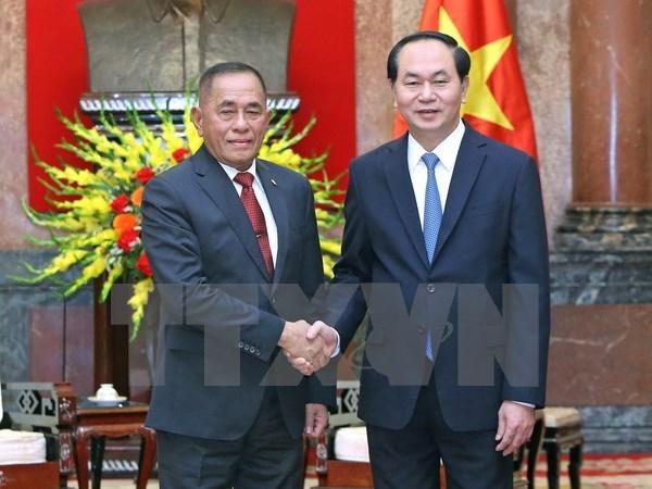 Le president Tran Dai Quang recoit le ministre indonesien de la Defense hinh anh 1