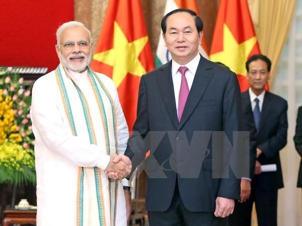 Le president Tran Dai Quang recoit le Premier ministre indien hinh anh 1