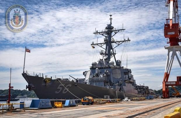 Un navire de la Marine americaine jette l'ancre a Da Nang hinh anh 1