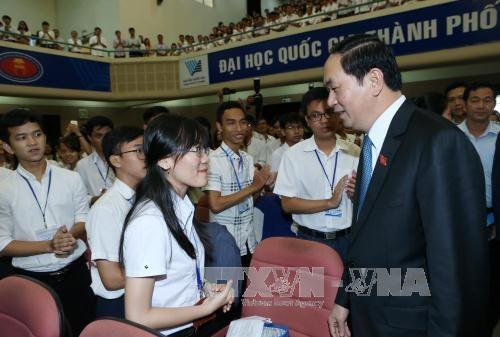 Tran Dai Quang a la rentree scolaire de l'Universite nationale de Ho Chi Minh-Ville hinh anh 1