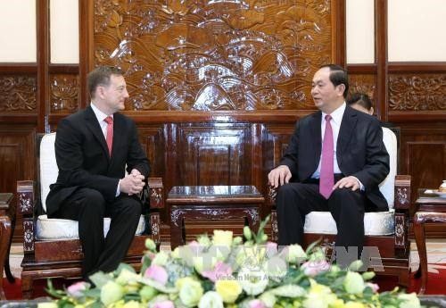 Le president Tran Dai Quang recoit de nouveaux ambassadeurs hinh anh 1