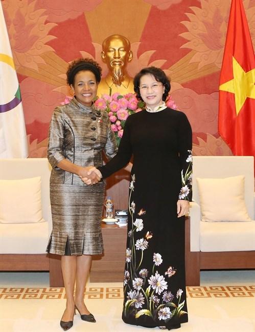 La presidente de l'AN Nguyen Thi Kim Ngan recoit la secretaire generale de l'OIF hinh anh 1