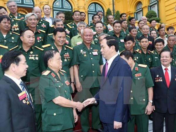 Le president Tran Dai Quang invite des veterans a s'entraider pour s'enrichir hinh anh 1