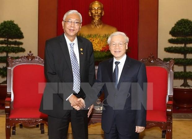 Le chef du PCV et le Premier ministre recoivent le president du Myanmar hinh anh 1