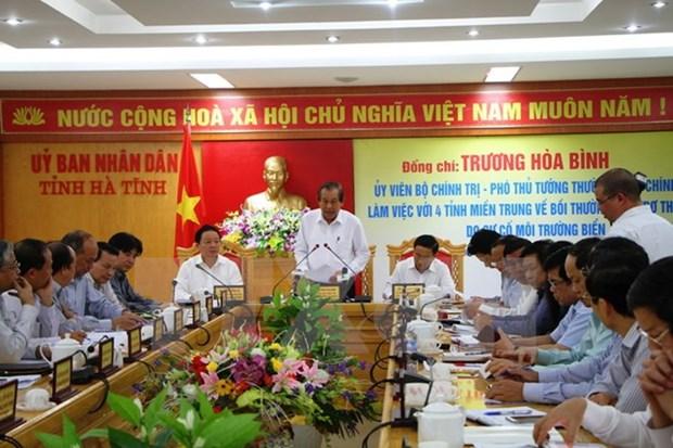Formosa: Le vice-PM Truong Hoa Binh inspecte le travail de dedommagement hinh anh 1