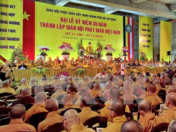 Le FPV felicite l'Eglise bouddhique du Vietnam pour son 35e son anniversaire hinh anh 1