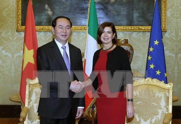 Tran Dai Quang rencontre les dirigeants du Parlement italien hinh anh 1
