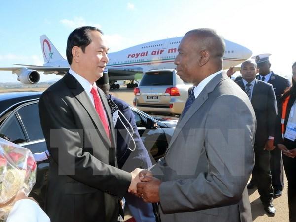 Le president Tran Dai Quang arrive a Madagascar pour le 16e sommet de la Francophonie hinh anh 1