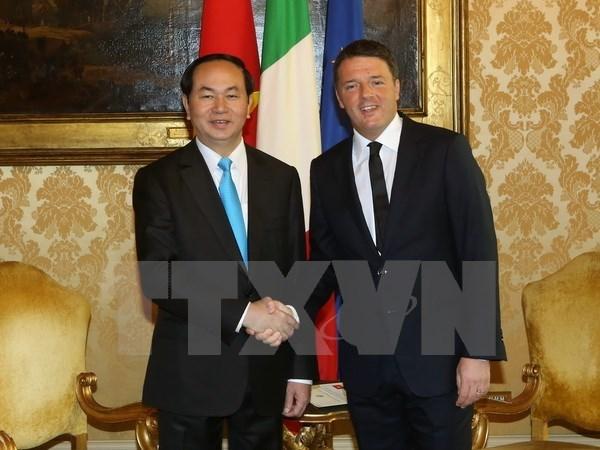 La visite d'Etat du president Tran Dai Quang en Italie couronnee de succes hinh anh 1