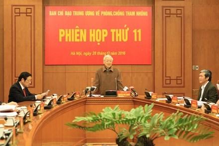 Le secretaire general Nguyen Phu Trong demande de renforcer la lutte contre la corruption hinh anh 1