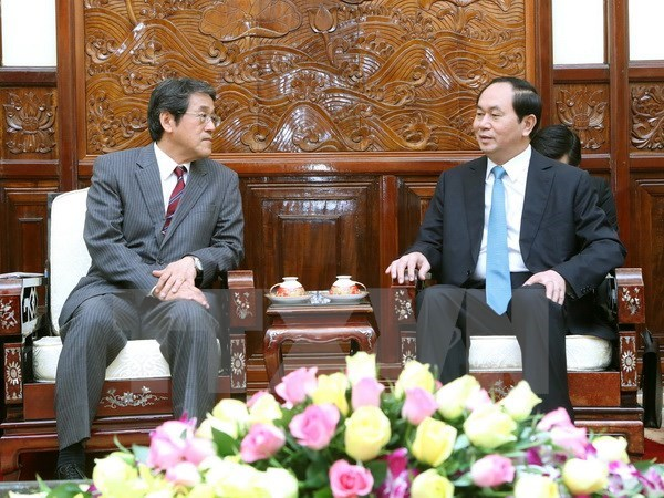 Le president Tran Dai Quang recoit le nouvel ambassadeur japonais hinh anh 1
