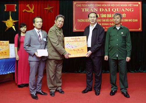 Le president Tran Dai Quang rend visite a des invalides de guerre a Ninh Binh hinh anh 2