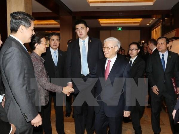Le chef du Parti souligne le role des entreprises dans les relations Vietnam-Chine hinh anh 1