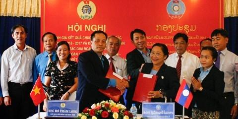 Vietnam-Laos : renforcement de la cooperation intersyndicale hinh anh 1