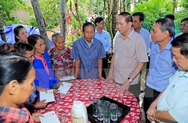 Da Nang: Tran Dai Quang inspecte des travaux pour remedier aux consequences du typhon Damrey hinh anh 1