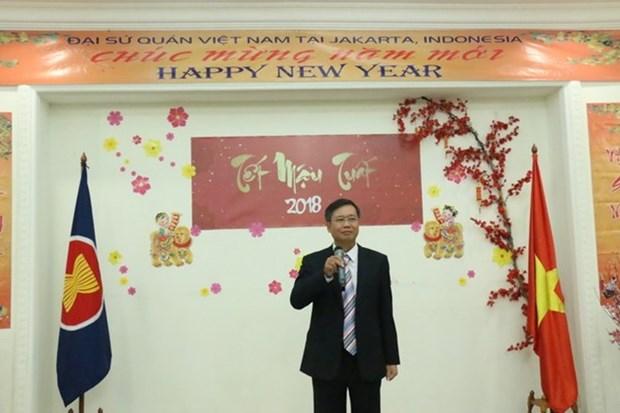 Les Vietnamiens en Indonesie et au Mozambique celebrent le Tet du Chien 2018 hinh anh 2