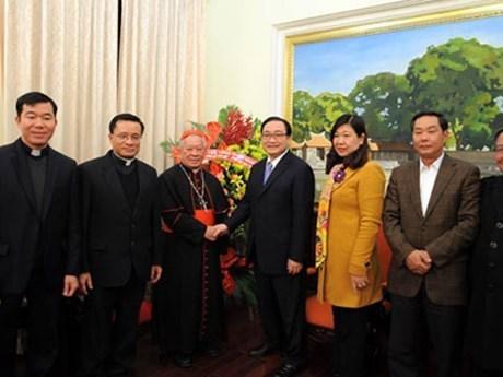 L'Archeveche de Hanoi adresse ses vœux du Nouvel an au Comite du Parti de Hanoi hinh anh 1
