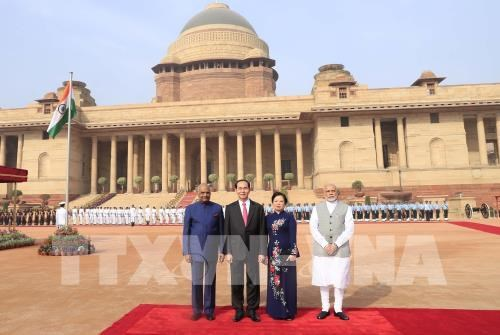 Ceremonie d'accueil officielle en l'honneur du president Tran Dai Quang en Inde hinh anh 1