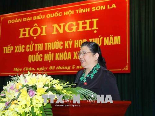 La vice-presidente de l'Assemblee nationale rencontre l'electorat a Son La hinh anh 1