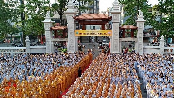 Activites a l'occasion du 2562e anniversaire de Bouddha dans plusieurs localites hinh anh 2