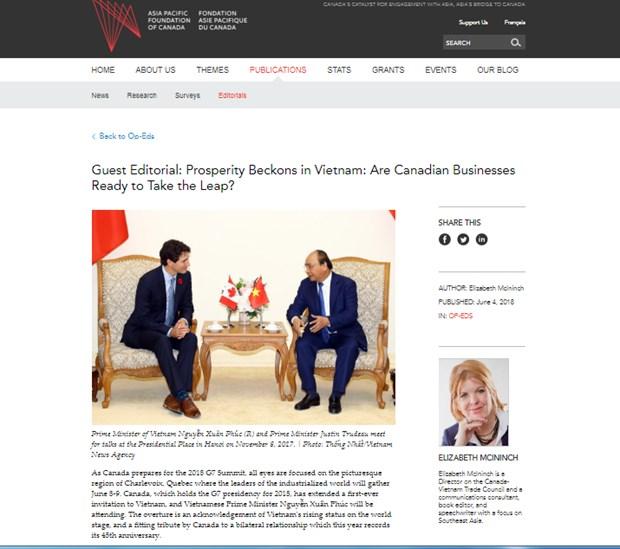 Expert canadien: de nouvelles opportunites dans les relations Vietnam-Canada hinh anh 1