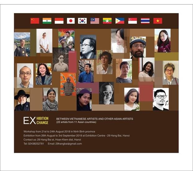 Exposition de peintres vietnamiens et asiatiques a Hanoi hinh anh 1