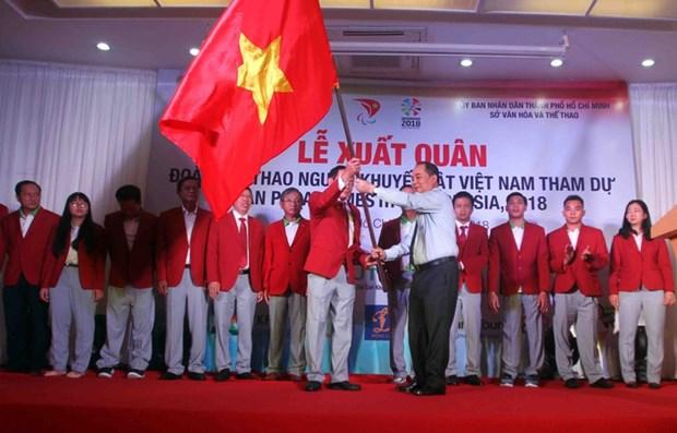 Asian ParaGames 2018: ceremonie de depart de la delegation handisport vietnamienne hinh anh 1