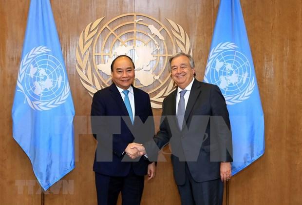 Le Premier ministre Nguyen Xuan Phuc rencontre des dirigeants de l'ONU hinh anh 1