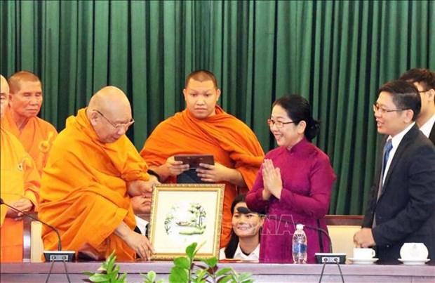Une delegation bouddhique thailandaise recue par des dirigeants de Ho Chi Minh-Ville hinh anh 1