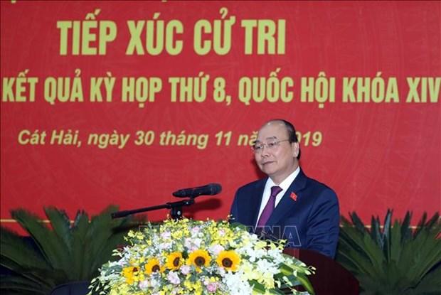 Le Premier ministre Nguyen Xuan Phuc rencontre l'electorat de Hai Phong hinh anh 1